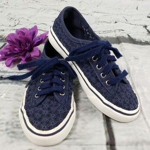 Keds Double Up Navy Crochet Flowers Sneaker 12.5